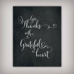 Give Thanks - 8x10 & 5x7 INSTANT DOWNLOADS - Printable .JPG Files - Chalkboard Art - Thanksgiving Art