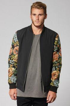 Floral Sleeve Bomber - Black