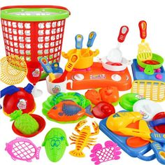 Pretend Chef Kitchen Cooking Utensils and Foods Plastic Kids Toys - 35pcs Set