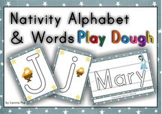 Playdough Mats - Christmas Nativity Alphabet and Words