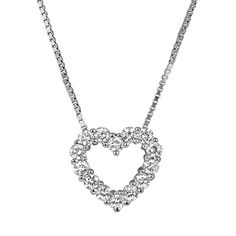 Sparkling Pendant Necklace - fourteen round brilliant diamonds arranged in the shape of a heart.
