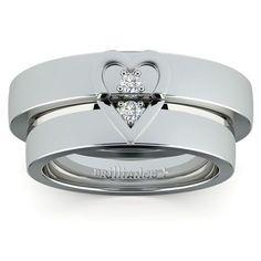 Matching Split Heart Diamond Wedding Ring Set in Platinum www.brilliance.co...