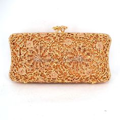 (59.16$)  Watch more here - http://ainwr.worlditems.win/all/product.php?id=32761022645 - Newest Champagne diamonds and gold hardware Clutch Bag Flower Evening Bag Diamond Studded Handbags Women Bridal Party Purse 616
