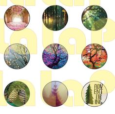 30 Trees  Digital Party Stickers Circles size 1'', 20mm, 16mm, 14mm, 12mm sheet…