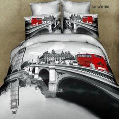 Sweetdream' D, Oil Painting 3d Bedding T87 Red Bus Duvet Cover Queen Luxury Wedding Set Cotton Romantic Print Bed Sheets 4pcs  Paris home décor is cute, trendy and adorable.  In fact, it is perfect for anyone who has or wants to visit Pairs.  Paris themed home décor is really trendy and popular all over the world.  For this reason, I really love Paris wall art, Eiffel Tower bedding not to mention other cute Parisian decorative accents.  Any room of your home living room, bedroom, kitchen