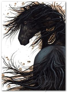 Majestic Horse Feathers Black Stallion Friesian - ArT Prints by Bihrle mm143