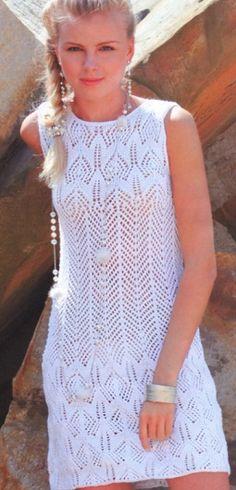 Вязанное летнее платье