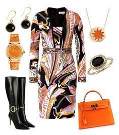 """""""Kerry"""" by office-girl ❤ liked on Polyvore featuring Emilio Pucci, Hermès, Gucci, Versace, House of Harlow 1960 and Blue Nile"""
