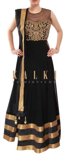 Buy Online from the link below. We ship worldwide (Free Shipping over US$100) http://www.kalkifashion.com/black-anarkali-suit-adorn-in-zari-french-knot-embroidery-only-on-kalki.html