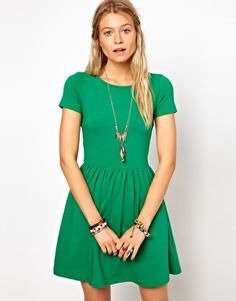 Rust Color (not green) ASOS Skater Dress With Slash Neck And Short Sleeve