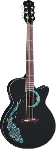 Luna Guitars - FaunaKoi acoustic electric guitar. I'm not typically into anything with an actual picture on the guitar or mother-of-pearl on it, but idk something about this is really cool to me. Like I'm not even like way into fish xD But I'd play this beauty any day.