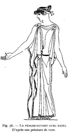 A peplos was worn as a symbol of the graceful simplicity of early Greek style. Most peplos were made of wool, though some wealthy women had them made of fine linen or silk. When the Ionic chiton became a popular garment the peplos was worn as a cloak or overgarment over the chiton.
