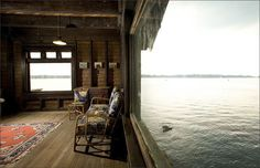 Unique Wooden Home Design On an Small Island – Clingstone House in Rhode Island's Narragansett Bay in US unique bedroom view wooden house design on an island Pin # 5 House On The Rock, House In The Woods, My House, Boat House, Ocean House, Future House, Wooden House Design, Unique House Design, Rhode Island