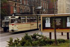 Gotha tram no 207 at Gotha Post Office, Aug 1989 + LKW S Bahn, Public Transport, Transportation, Germany, Post Office, Trains, Pictures, Cars, Color