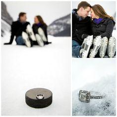Hockey Engagement | Photo by Kim Payant Photography | www.kimpayantphot... #winterweddings #hockey #canadaweddings #mountainweddings