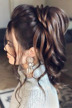 Pony Tail Hairstyles For Your Wedding Party Look ❤ pony tail hairstyles swept back high brown martinajagr #weddingforward #wedding #bride #ponytailhairstyles #weddinghair