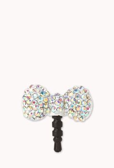 Rhinestoned Bow Phone Charm | FOREVER21 - Crystal Multi~Colored dust plug for your phone~