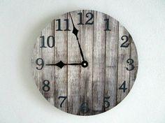 Rustic Wall Clock on Vinyl LP Record - Gray Wood Pattern - Cabin Wall Decor - Unique Wall Clock - Rustic Home Decor