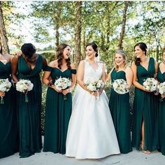 wedding bridesmaids A deep green goes well for any wedding season- from summer leaves to the deep winter ocean. Lovely smiles with these bridesmaids! via bellabridesmaids gabby_gchapinstudios Emerald Green Bridesmaid Dresses, Winter Bridesmaid Dresses, Emerald Green Weddings, Mismatched Bridesmaid Dresses, Bridesmaid Dress Colors, Wedding Bridesmaids, Forrest Green Bridesmaid Dresses, Wedding Colors, Wedding Ideas