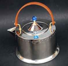 Vintage 80s BODUM C.Jorgensen design stainless tea kettle teak handle Blue finial made in Portugal Steel Rivets Brass