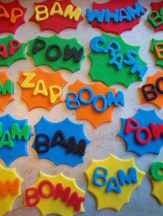 Superhero Sayings Fondant Cupcake Toppers. $30.00, via Etsy.