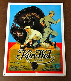 Vintage ken-wel #brand baseball #glove tin #sign, lou gehrig,  View more on the LINK: http://www.zeppy.io/product/gb/2/252111388183/