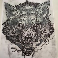 beautiful sketch of a wolf growling.. i would want a tattoo like this, but a tiger... with lotus flowers all around it...