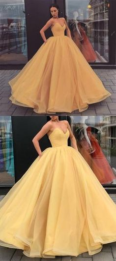 a1d832f2603 2019 Sweetheart Yellow Long Modest Prom Gwon