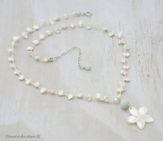 Something Blue Beach Bride Plumeria and Keshi Pearl Silk Knotted Necklace by JonaraBluMauiJewelry, $46.00