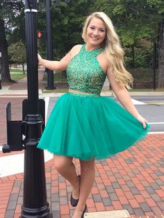 Beads Two Piece Teal Short Homecoming Dress