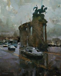 The Monument by Tibor Nagy Oil ~ 19,6 x 15,7
