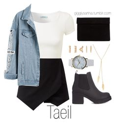 """""""Nighttime date // Taeil"""" by suga-infires ❤ liked on Polyvore featuring Merida, NLY Accessories and Forever 21"""