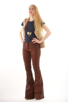 Elizabeth and James Baxley Flared Leather Pants