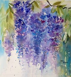 Wisteria. Beautiful and elegant flowers. Painted wet in wet watercolour