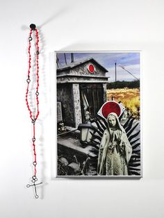 Kristin Beeler. Rosary: descanso 2, highway 86, 2017. Iron fence wire, nylon cord, digital print on aluminum.. 28 x 41 cm.