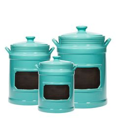Aqua Chalkboard Canister   Set Of Three Turquoise