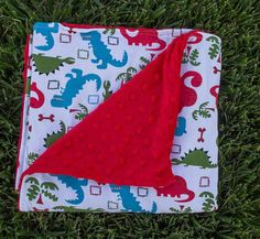 Dinosaur Red Minky Blanket