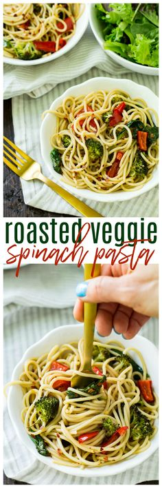 This Roasted Veggie Spinach Pasta features loads of spinach and roasted vegetables tossed with a light balsamic sauce and served over my favorite @Skinnerpasta! AD