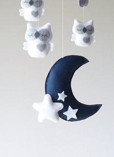 Baby Mobile Owl mobile white and gray mobile baby mobile