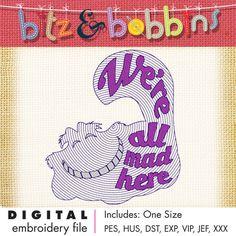 Alice in Wonderland - Cheshire Cat Inspired Redwork Digital Embroidery Design