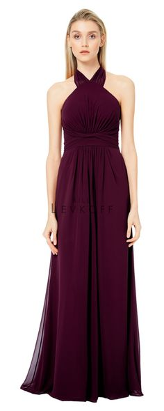 a79aaa4a833 1506 - Bill Levkoff Chiffon halter gown. Halter straps cross at the neck  forming a