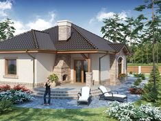 Modern Small One Storey House Design + Plan 40x60 House Plans, One Storey House, Home Design Plans, Design Case, Modernism, Planer, Gazebo, House Design, Outdoor Structures