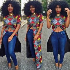 Gorgeousness!! Love her style from head to toe. #Ankara #Africanprint #Afrowig…