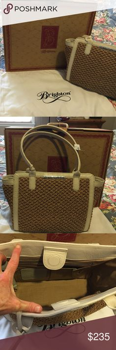 Brand new straw handbag Beautiful Brighton straw handbag with off-white leather trim Brighton Bags Shoulder Bags