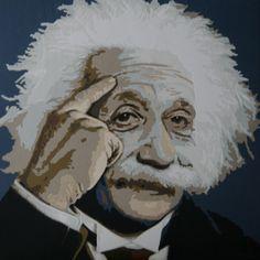 Art quilt:Einstein 80x80cm made by Dorte Jensen www.stofbilleder.dk