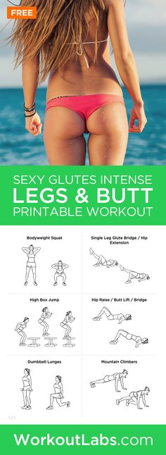 Sexy Glutes Intense Legs and Butt Toning Workout for Women ? Get ready for the beach season with this great leg and butt toning workout. Just 30 minutes twice each week is all the time you need. Fitness Po, Sport Fitness, Health Fitness, Female Fitness, Motivation Crossfit, Bora Malhar, Printable Workouts, Toning Workouts, Great Butt Workouts