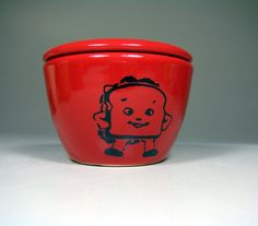 lidded bowl happy sandwich berry red Made to by CircaCeramics