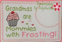 machine embroidery letters with icing | Grandma's are like Mommies....! Machine Embroidered Mug Mat/Mug Rug ...