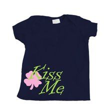 Kiss Me Shamrock Baby T-Shirt - Navy Blue