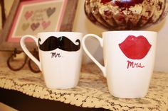 His and Her Decorated Coffee Mugs #DIY